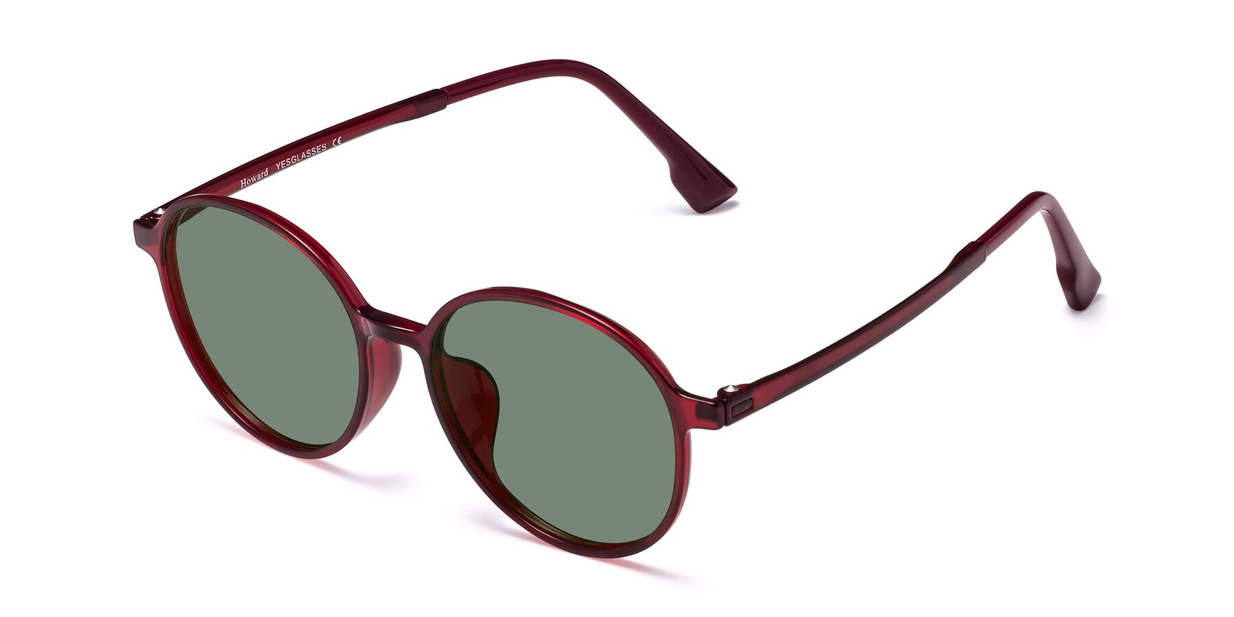 Angle of Howard in Wine with Medium Green Tinted Lenses