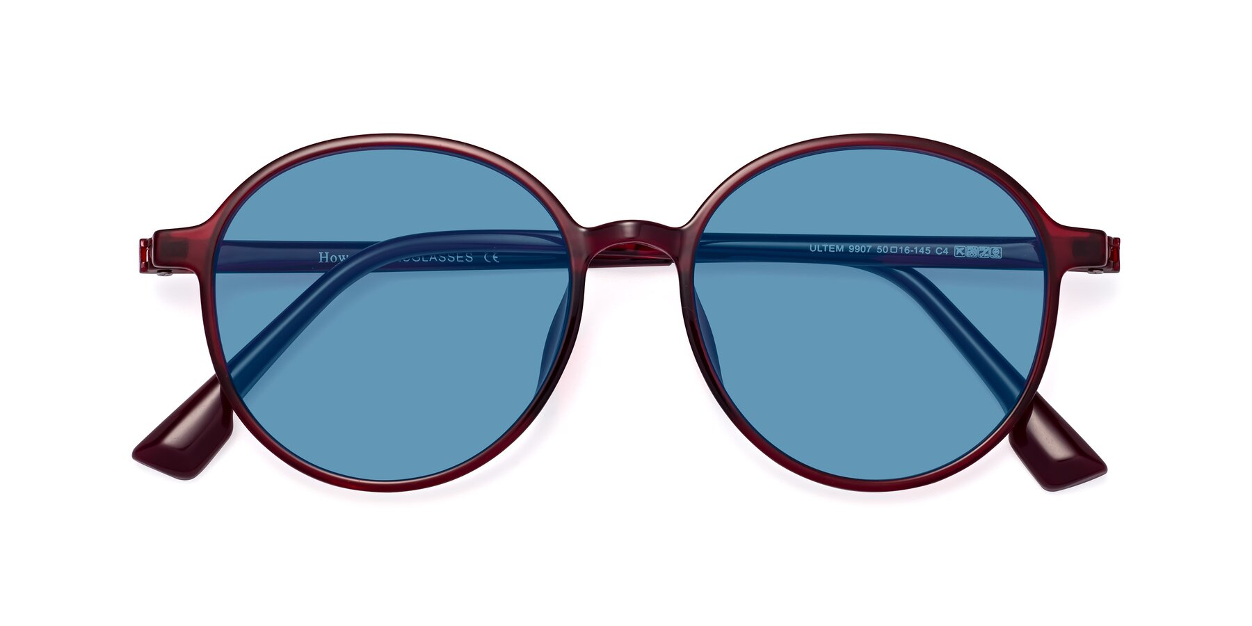 Folded Front of Howard in Wine with Medium Blue Tinted Lenses