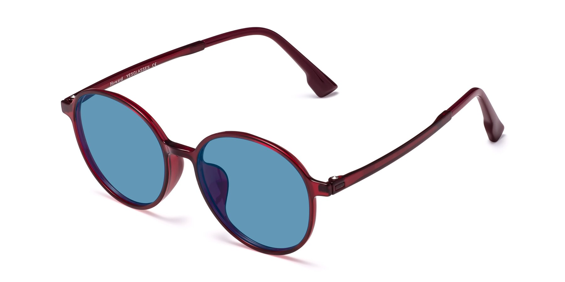 Angle of Howard in Wine with Medium Blue Tinted Lenses