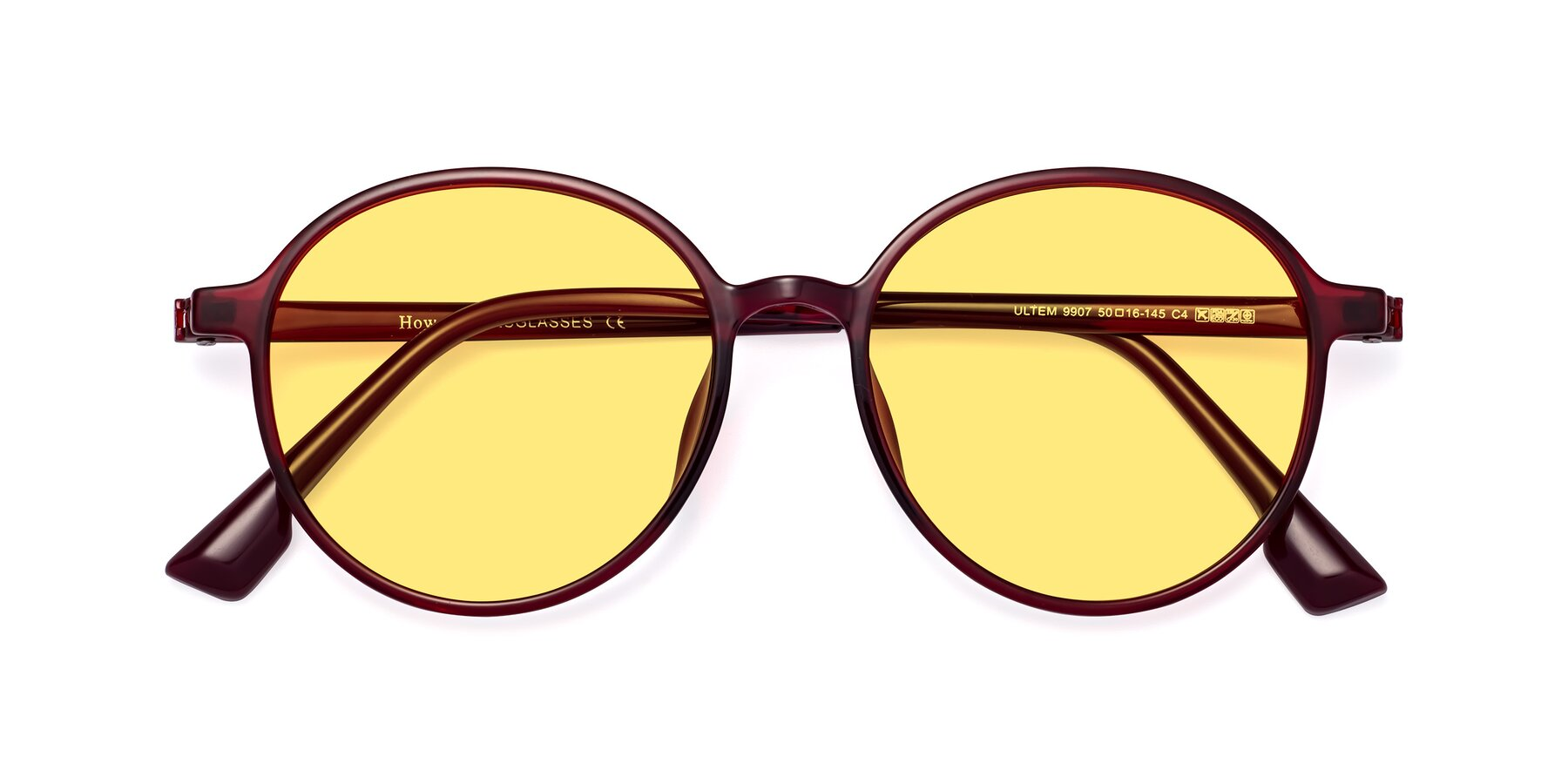 Folded Front of Howard in Wine with Medium Yellow Tinted Lenses