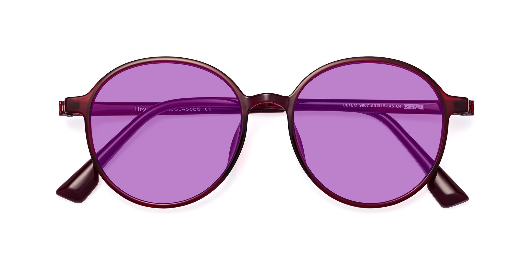 Folded Front of Howard in Wine with Medium Purple Tinted Lenses
