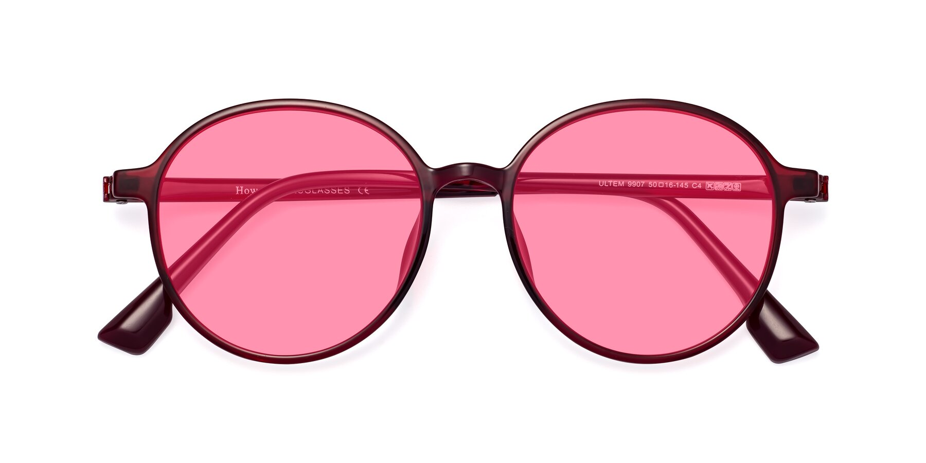 Folded Front of Howard in Wine with Pink Tinted Lenses