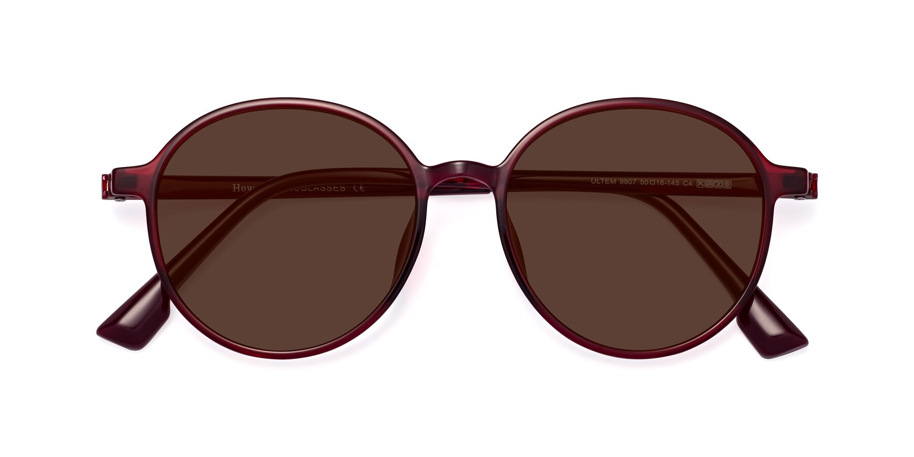 Folded Front of Howard in Wine with Brown Tinted Lenses
