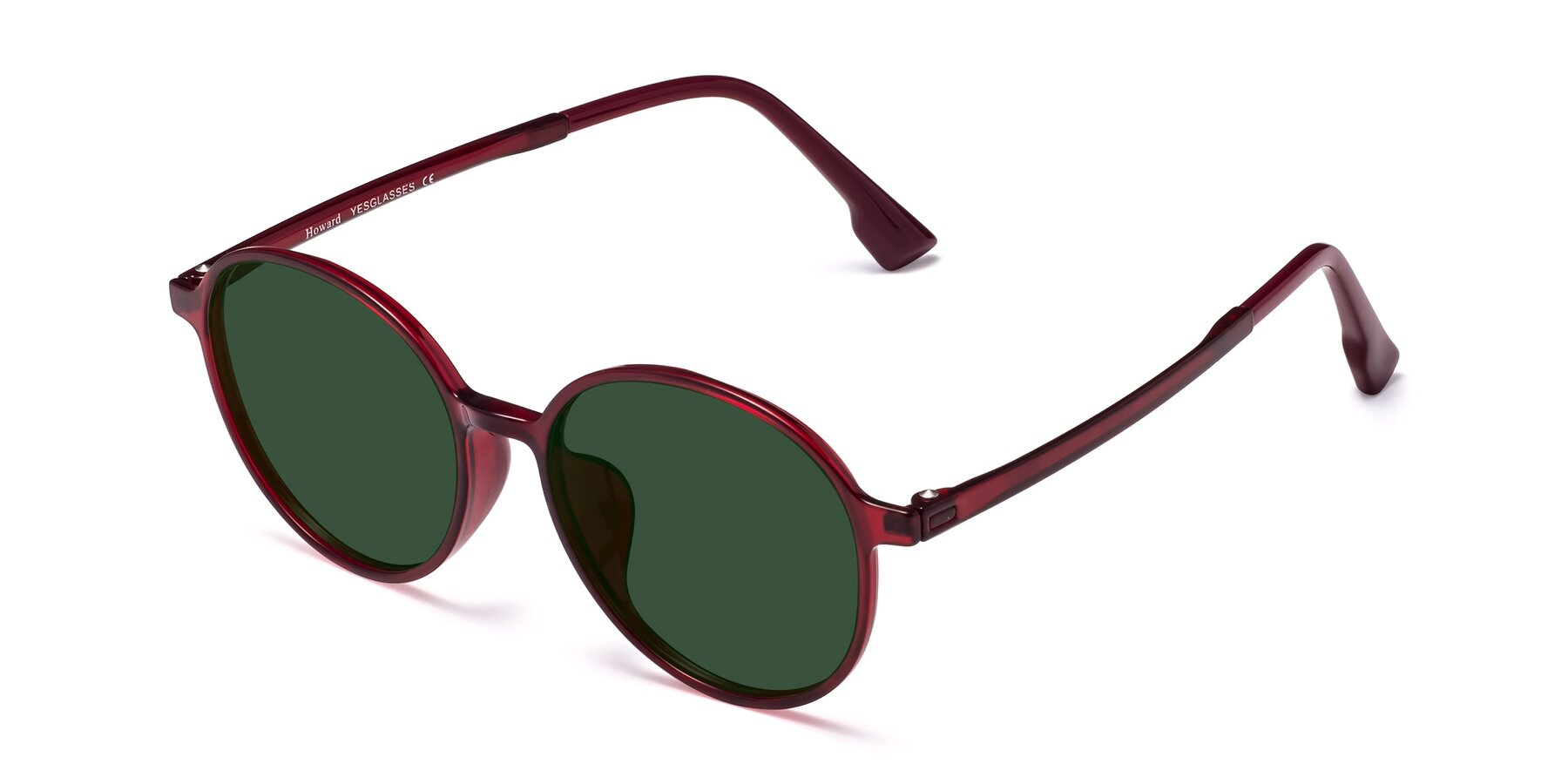 Angle of Howard in Wine with Green Tinted Lenses
