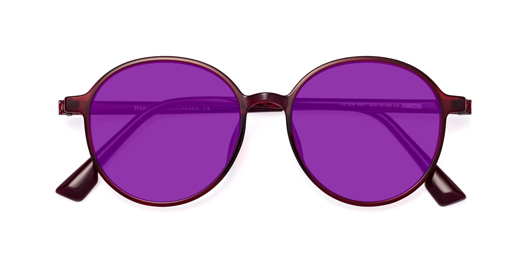 Folded Front of Howard in Wine with Purple Tinted Lenses