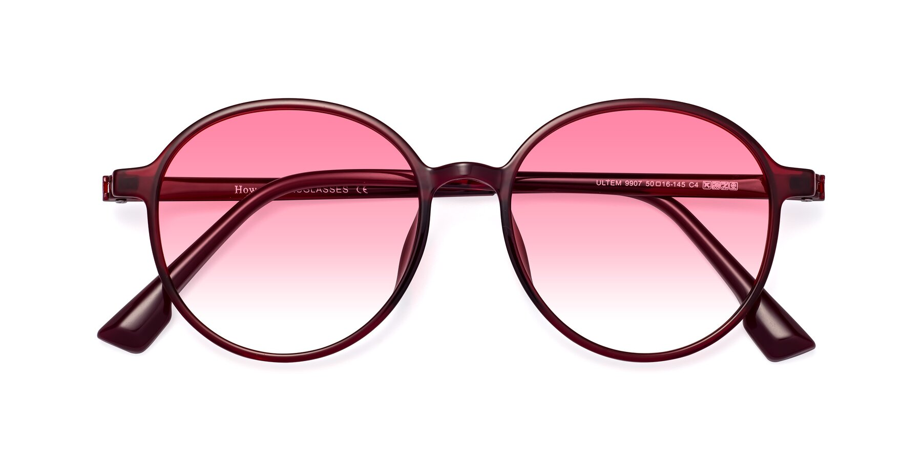 Folded Front of Howard in Wine with Pink Gradient Lenses