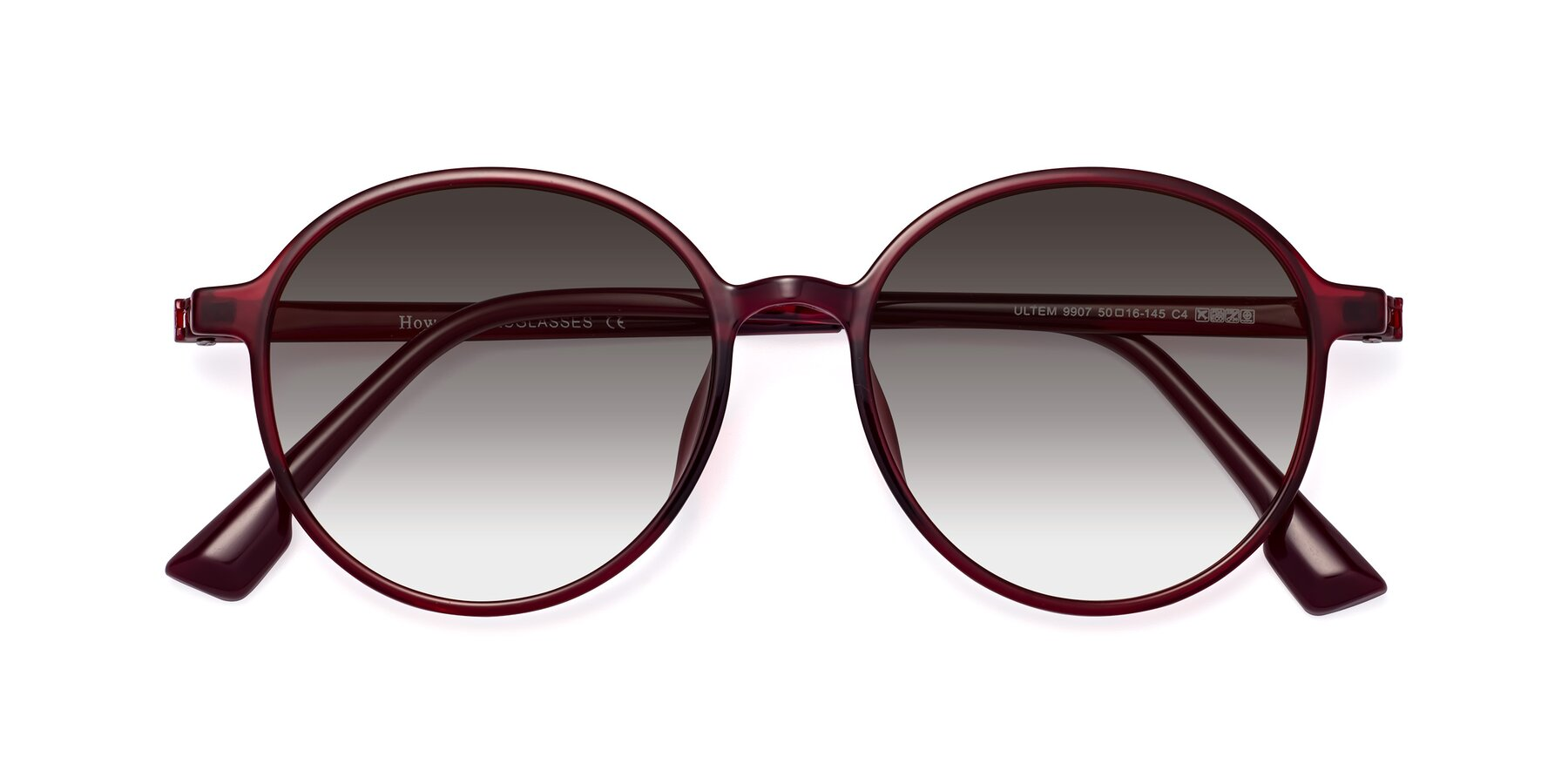 Folded Front of Howard in Wine with Gray Gradient Lenses