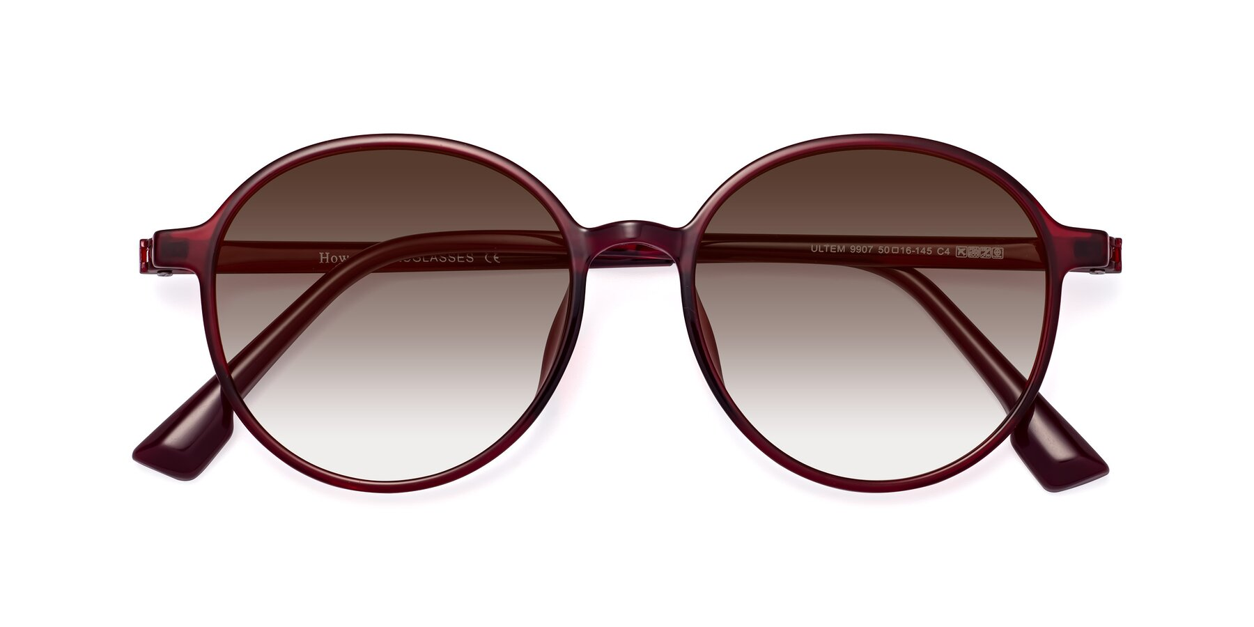Folded Front of Howard in Wine with Brown Gradient Lenses
