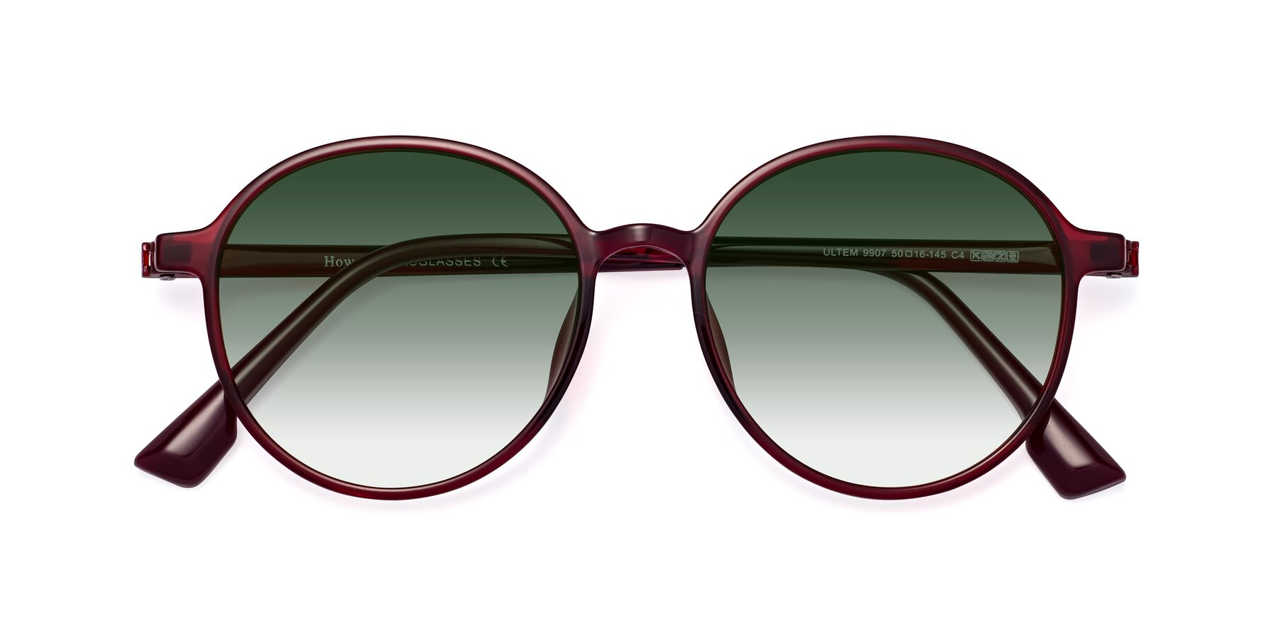 Folded Front of Howard in Wine with Green Gradient Lenses