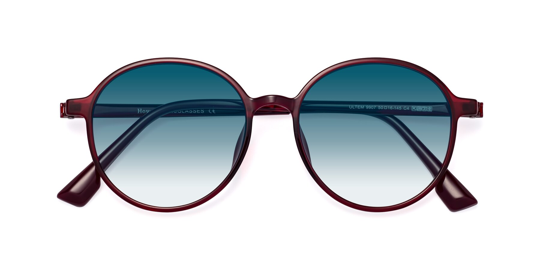 Folded Front of Howard in Wine with Blue Gradient Lenses
