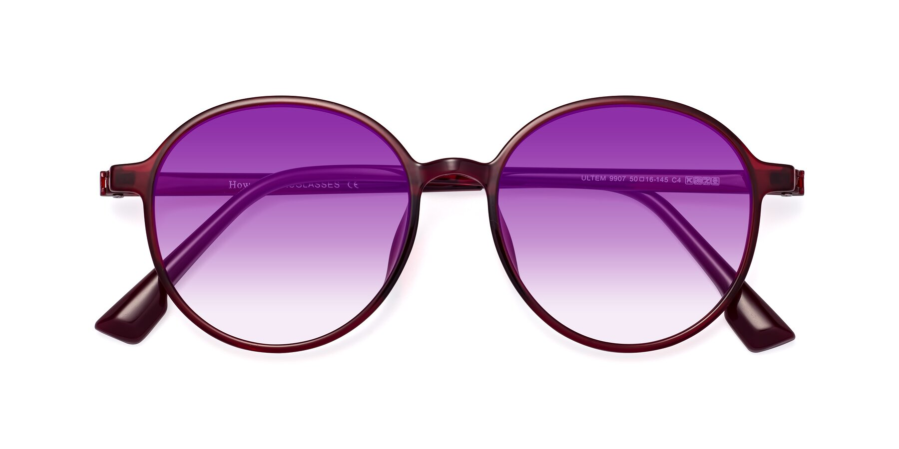 Folded Front of Howard in Wine with Purple Gradient Lenses