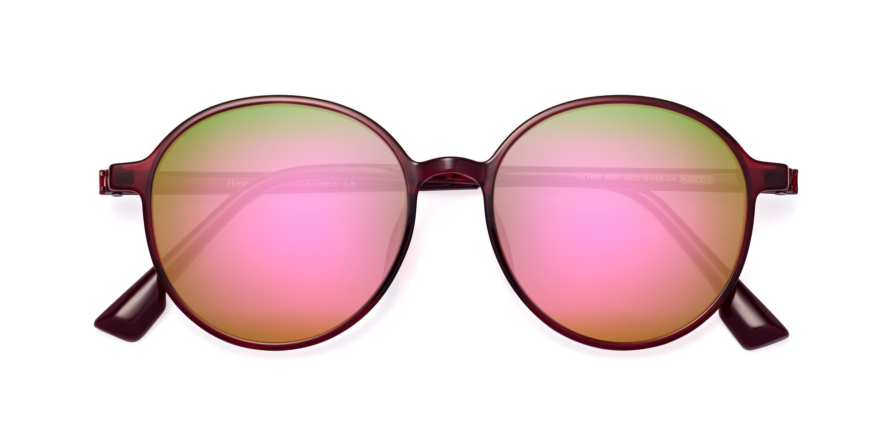 Folded Front of Howard in Wine with Pink Mirrored Lenses