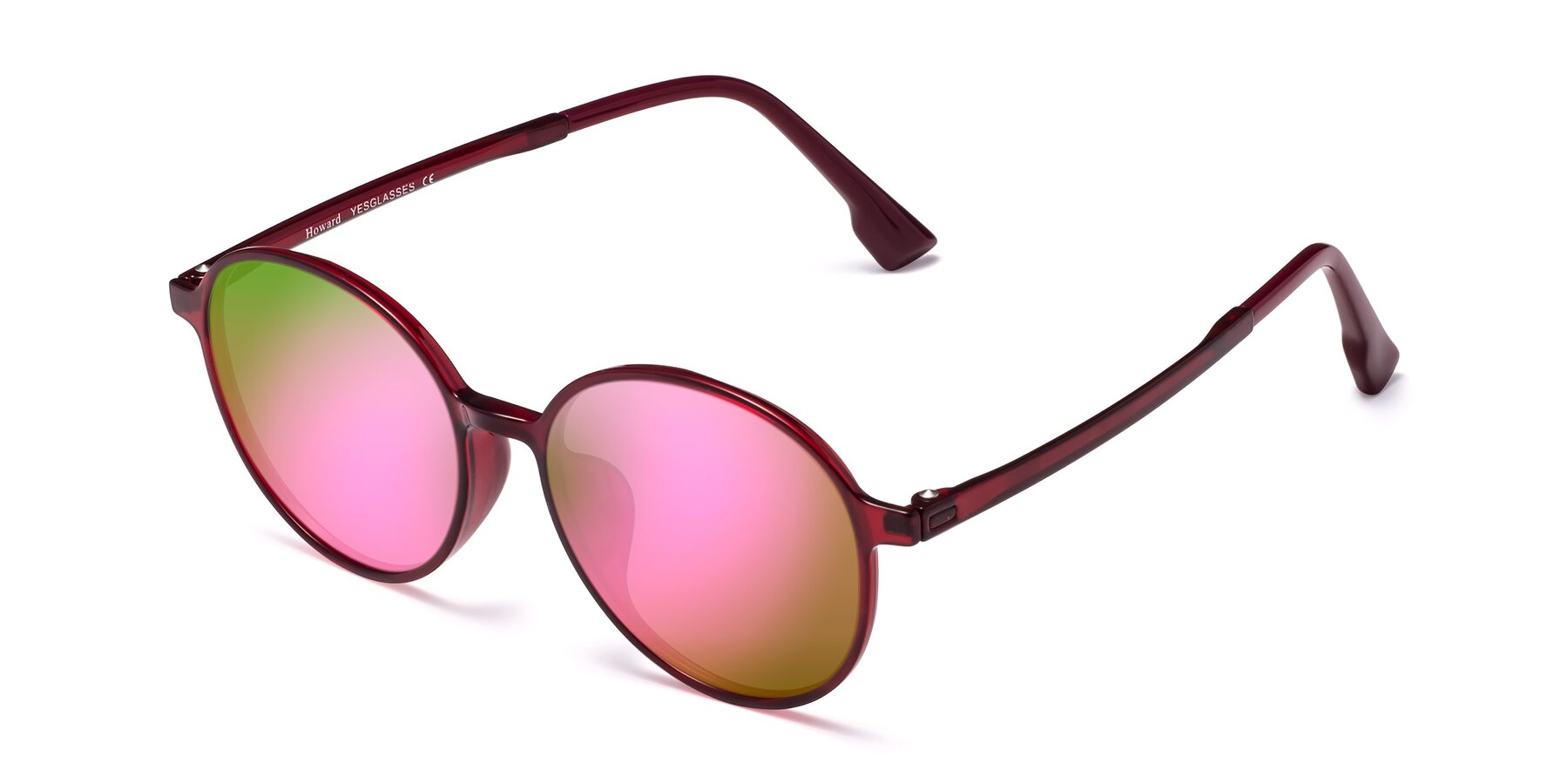 Angle of Howard in Wine with Pink Mirrored Lenses