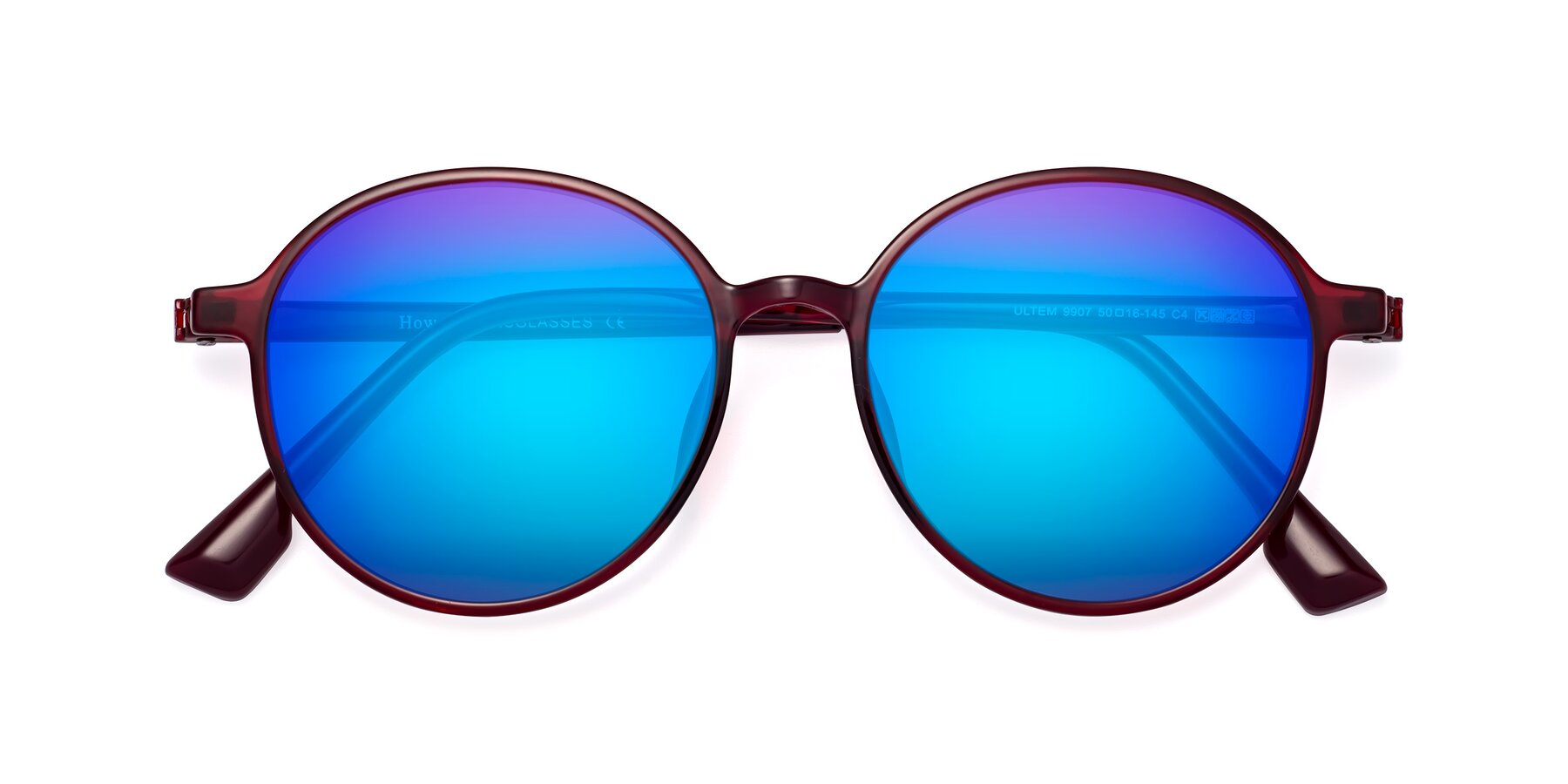 Folded Front of Howard in Wine with Blue Mirrored Lenses