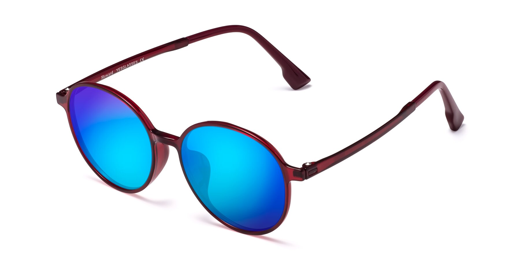 Angle of Howard in Wine with Blue Mirrored Lenses