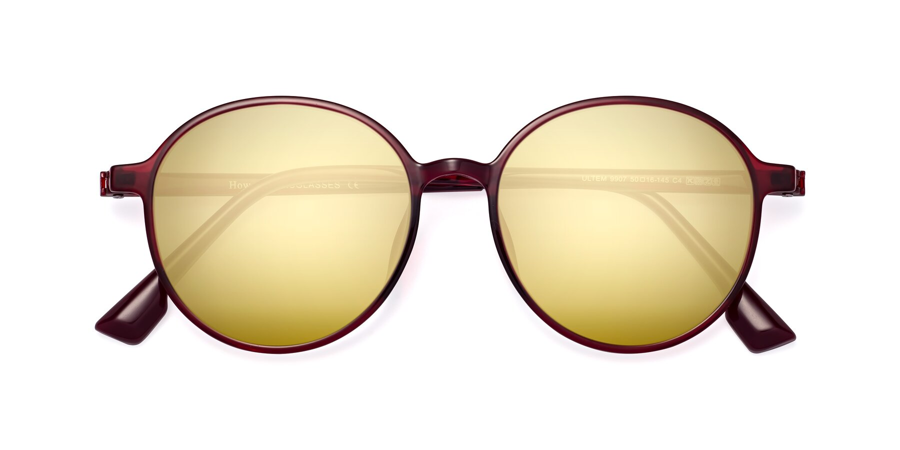 Folded Front of Howard in Wine with Gold Mirrored Lenses