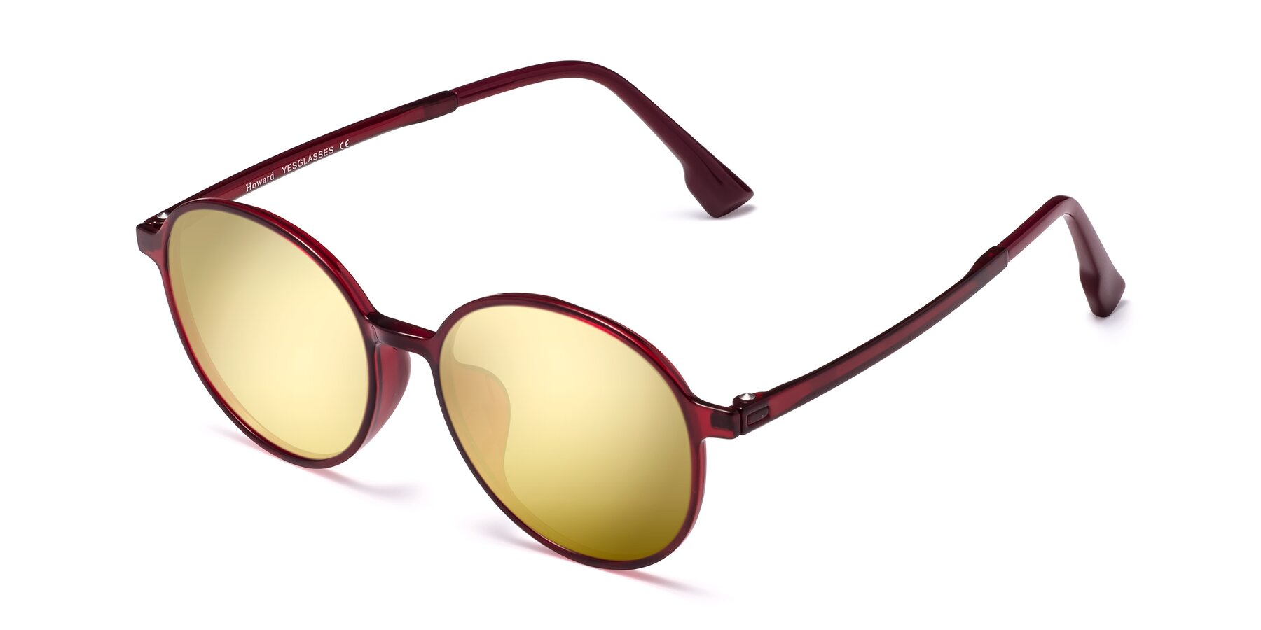 Angle of Howard in Wine with Gold Mirrored Lenses