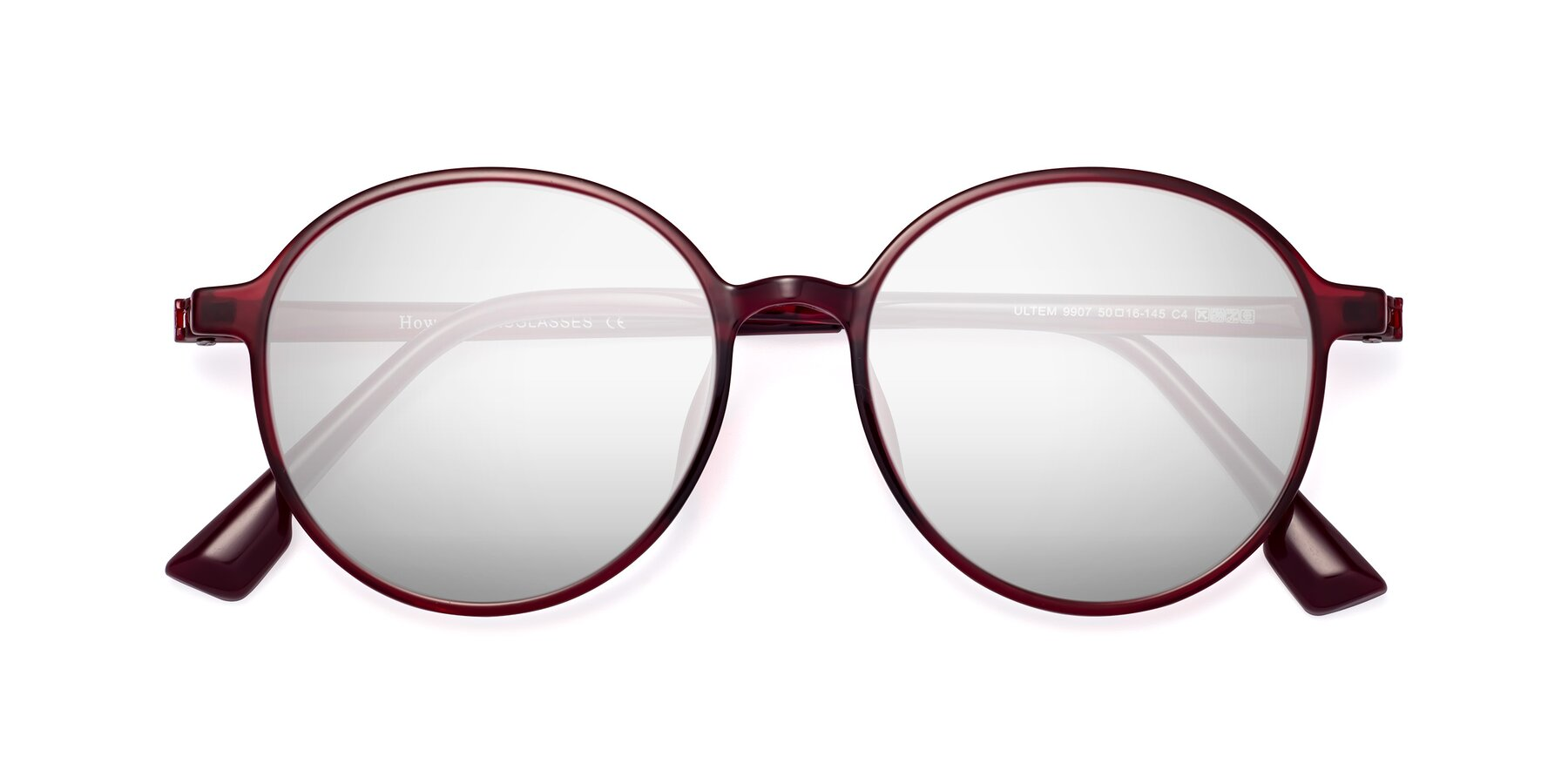 Folded Front of Howard in Wine with Silver Mirrored Lenses