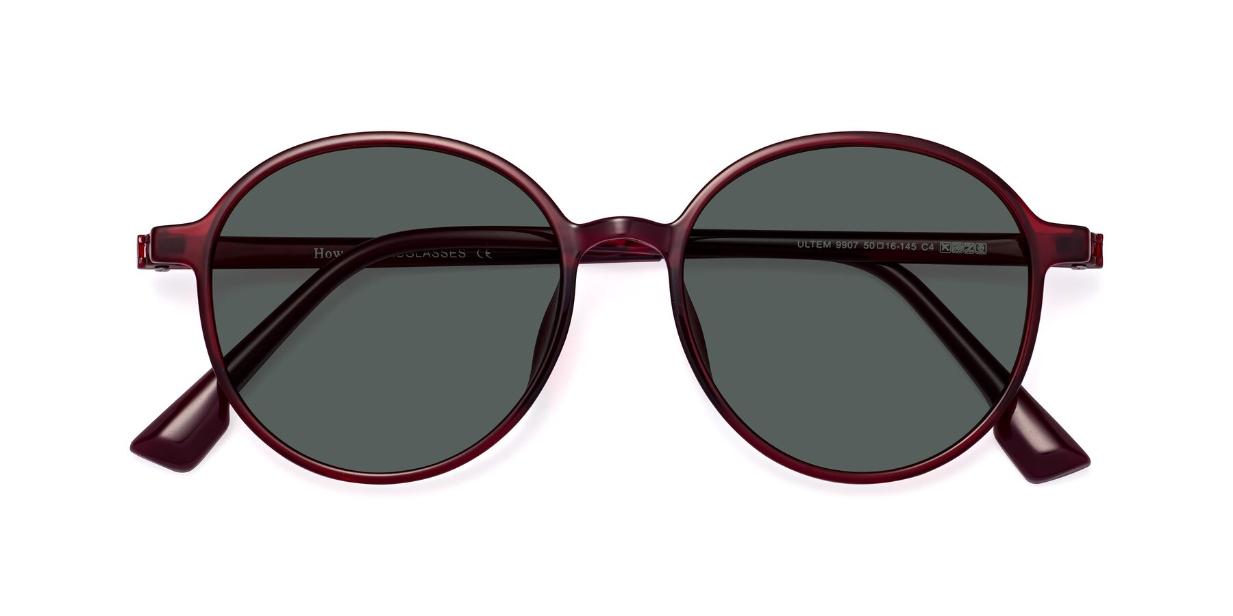 Folded Front of Howard in Wine with Gray Polarized Lenses