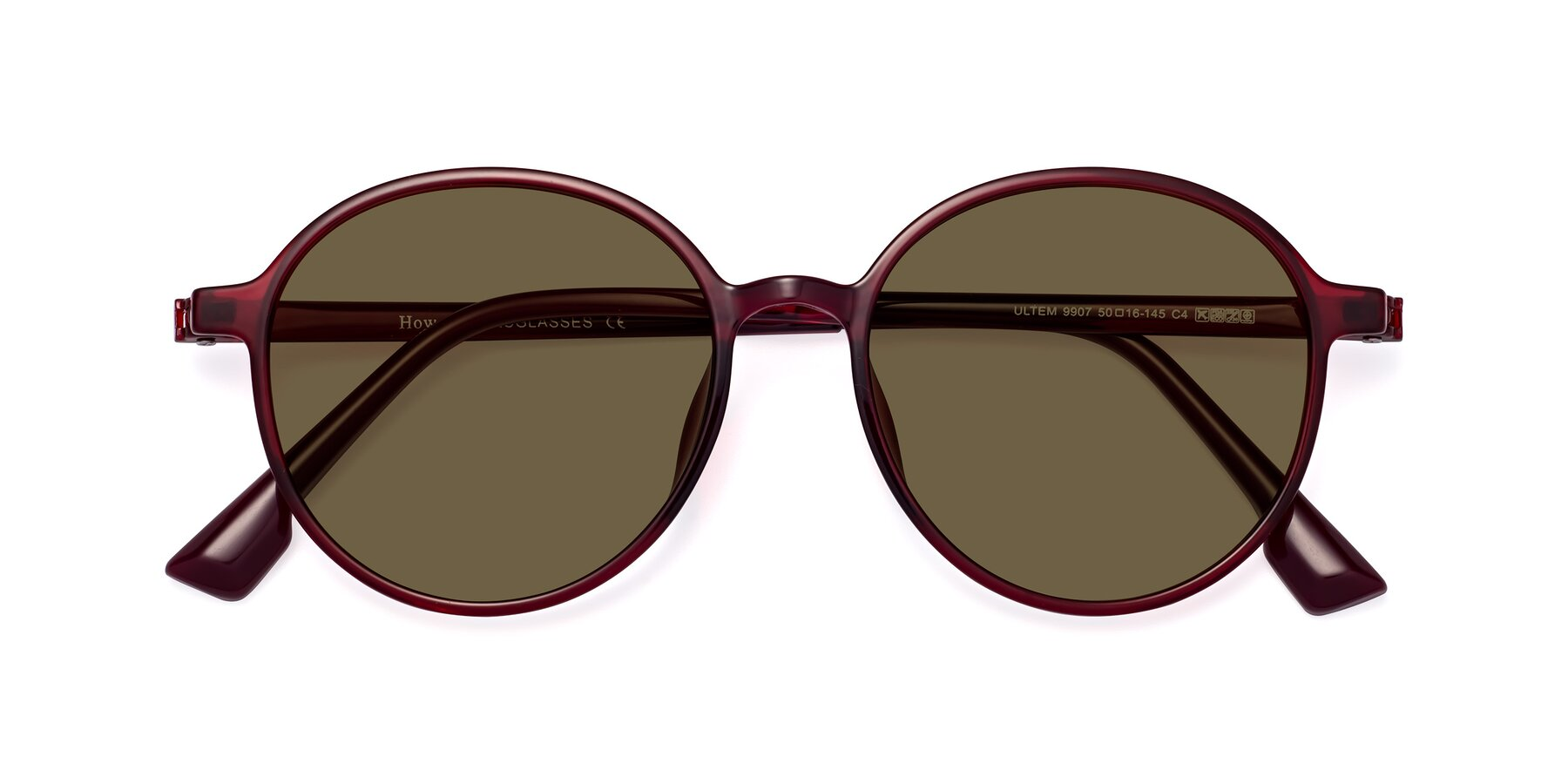 Folded Front of Howard in Wine with Brown Polarized Lenses