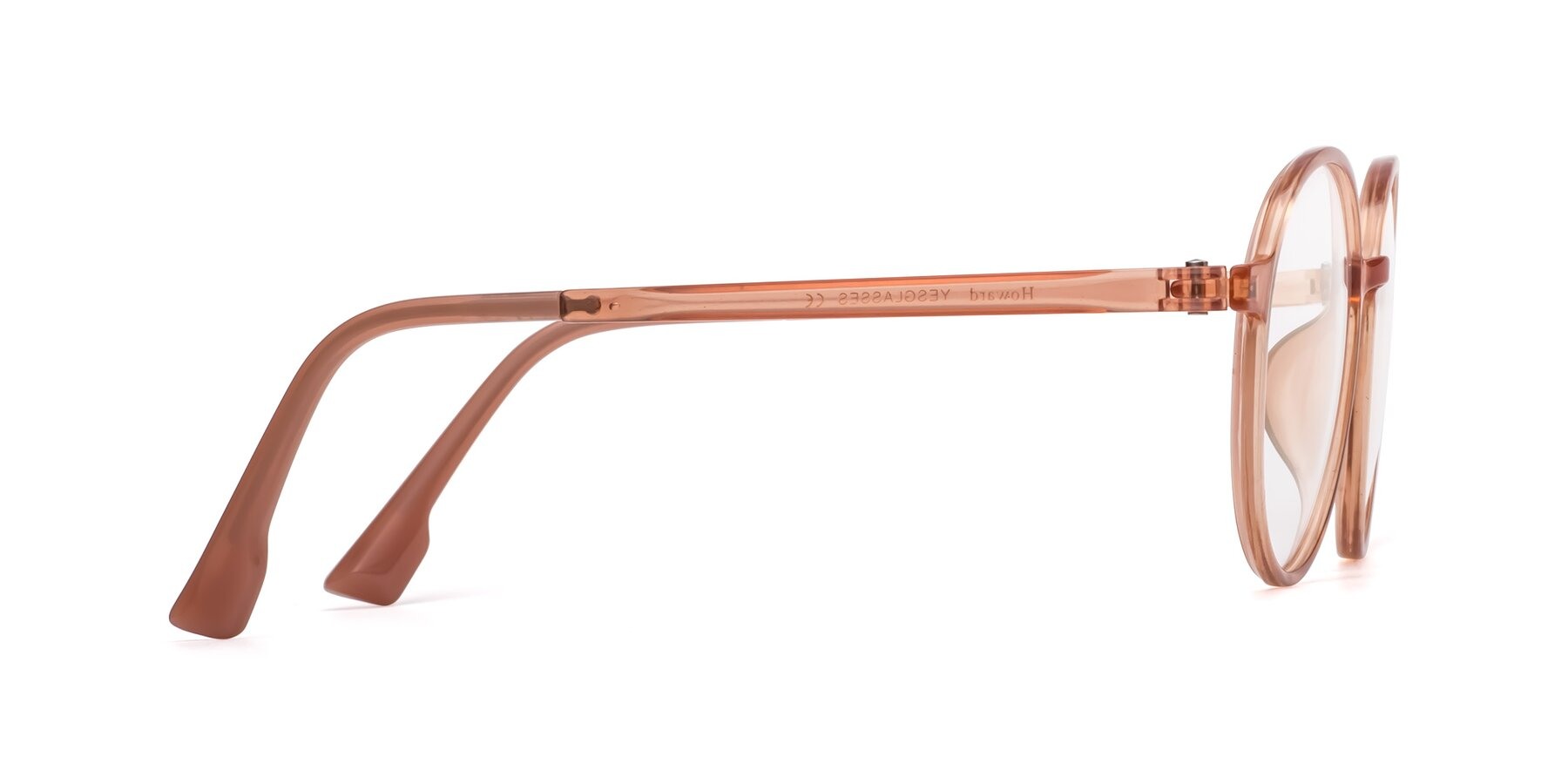 Side of Howard in Coral with Clear Eyeglass Lenses