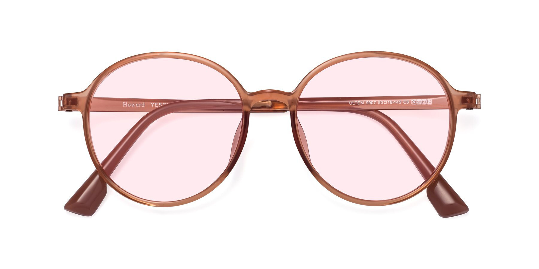 Folded Front of Howard in Coral with Light Pink Tinted Lenses