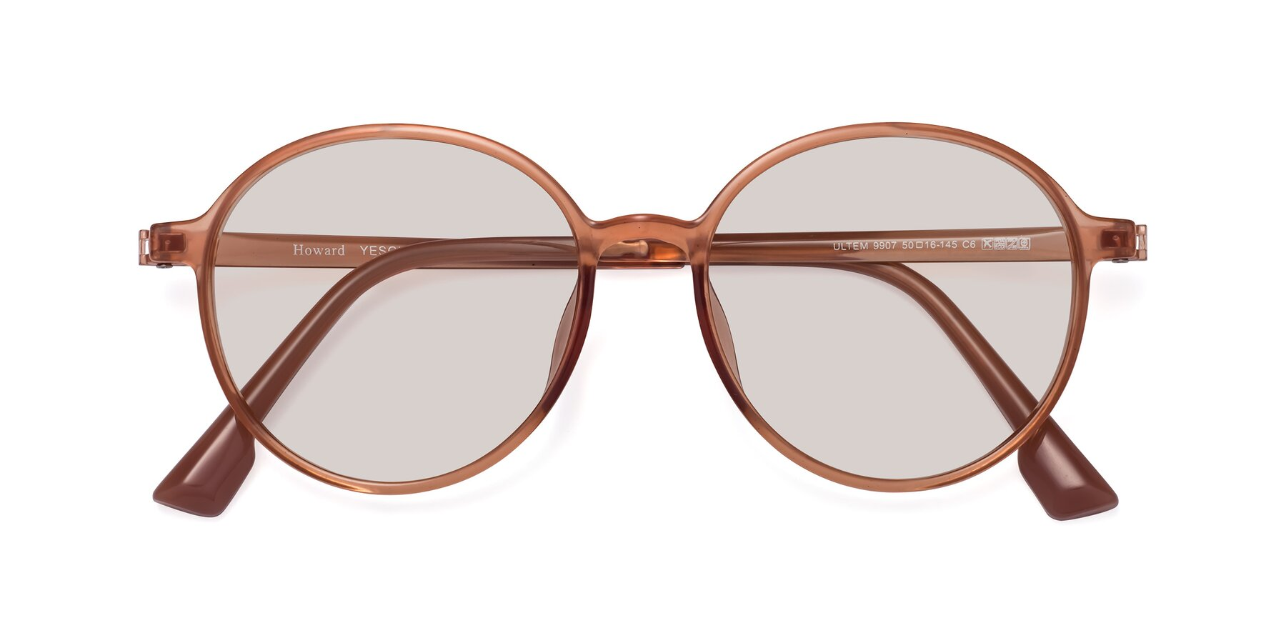 Folded Front of Howard in Coral with Light Brown Tinted Lenses