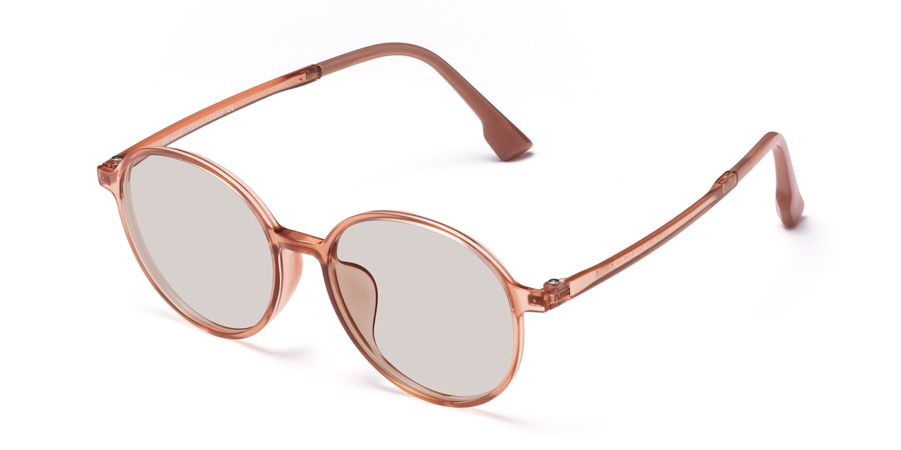 Angle of Howard in Coral with Light Brown Tinted Lenses