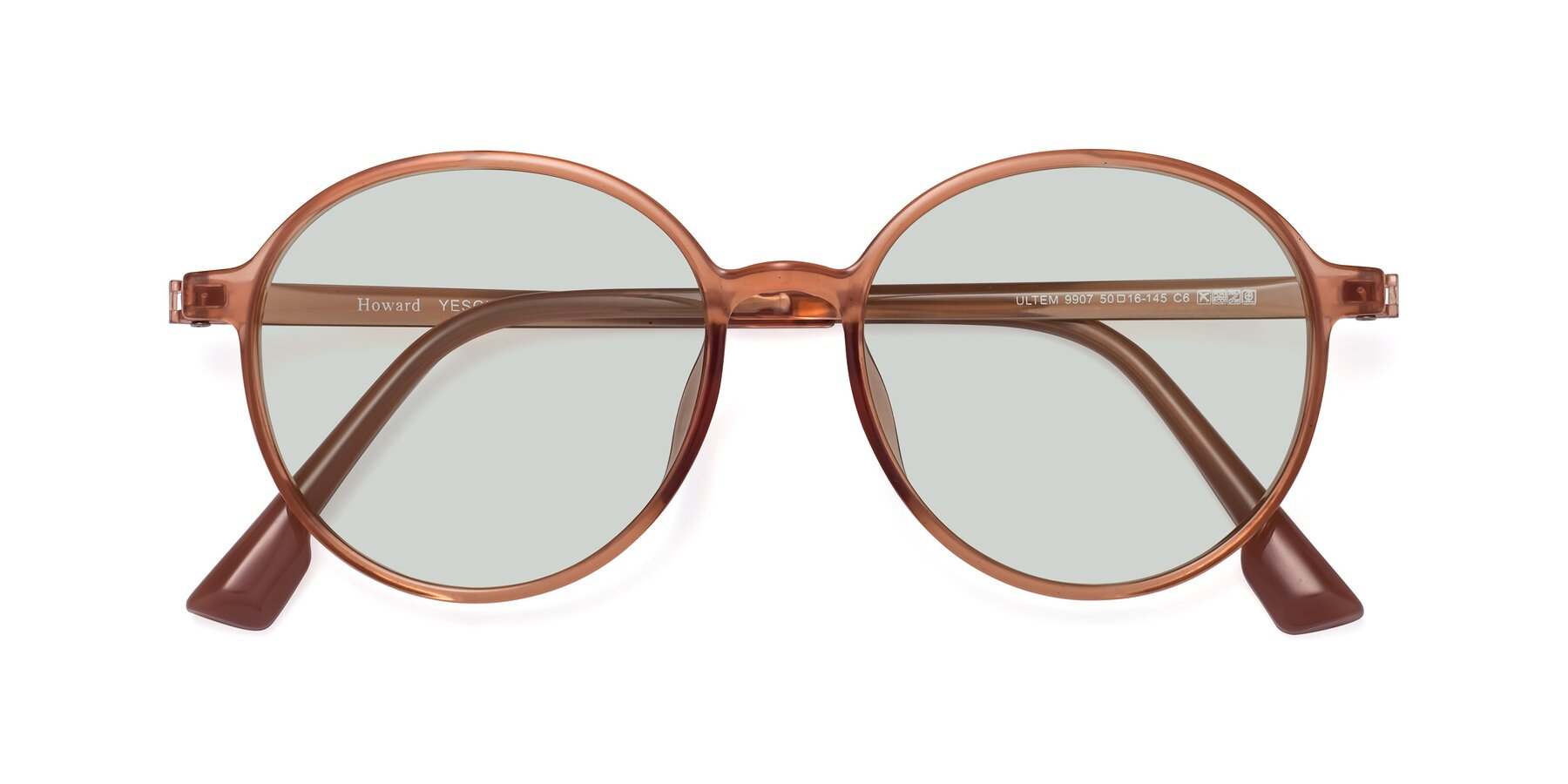 Folded Front of Howard in Coral with Light Green Tinted Lenses