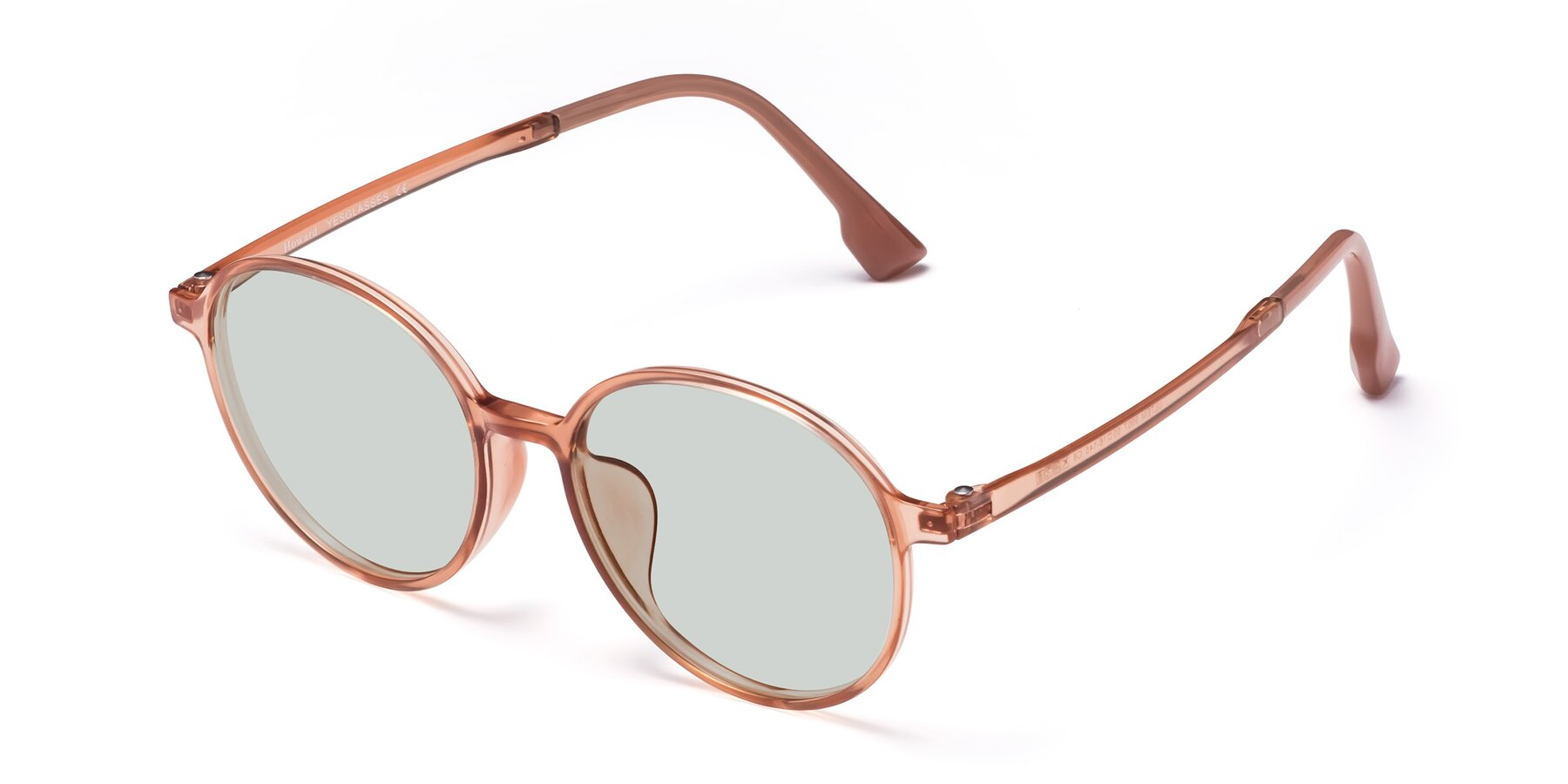 Angle of Howard in Coral with Light Green Tinted Lenses
