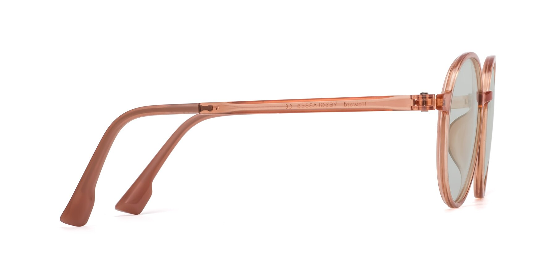 Side of Howard in Coral with Light Green Tinted Lenses