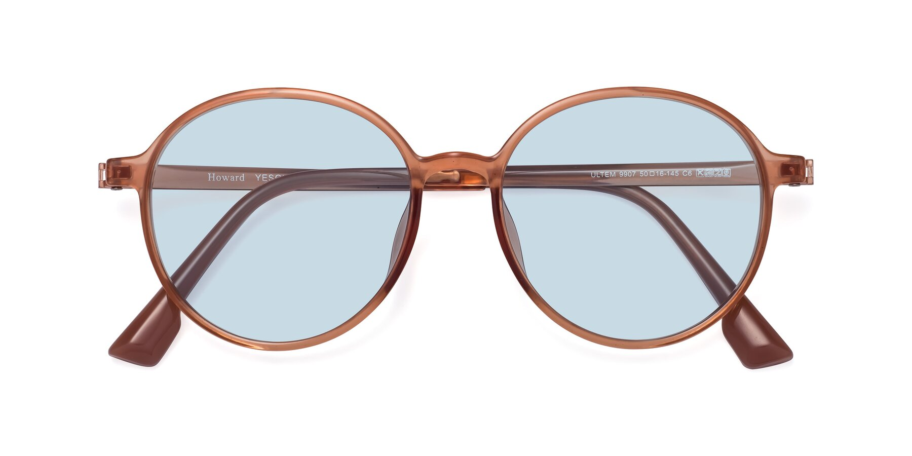Folded Front of Howard in Coral with Light Blue Tinted Lenses