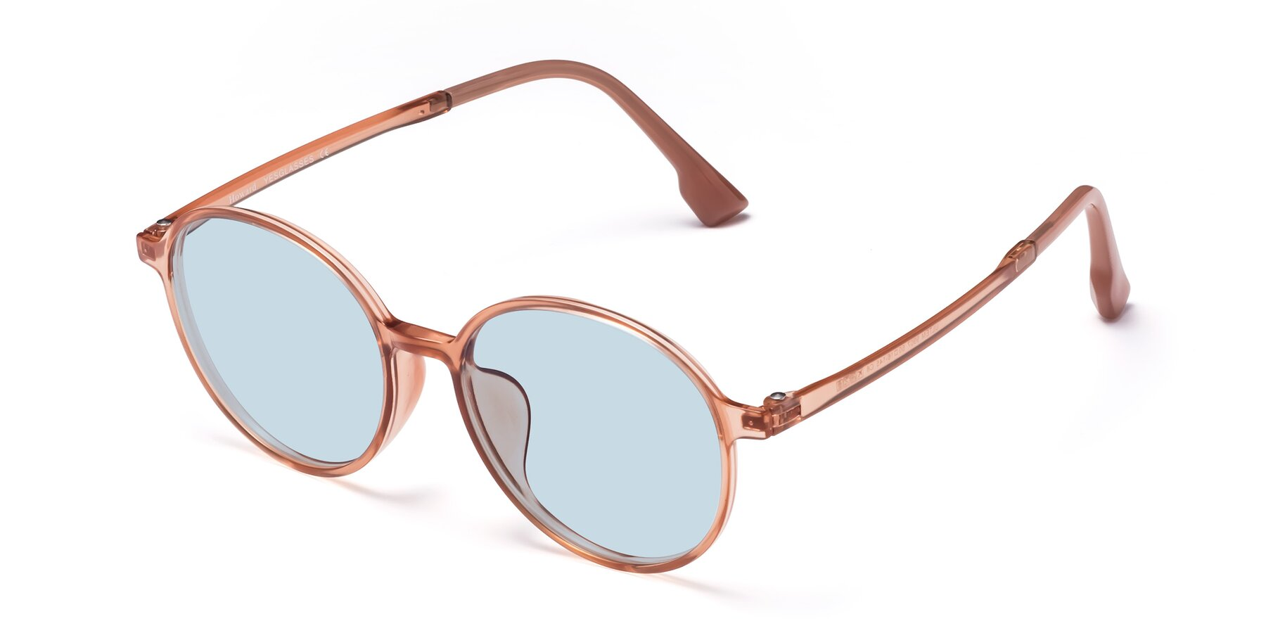 Angle of Howard in Coral with Light Blue Tinted Lenses