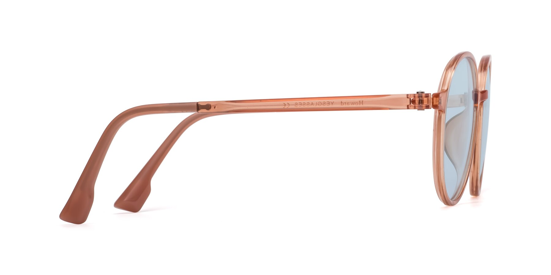 Side of Howard in Coral with Light Blue Tinted Lenses