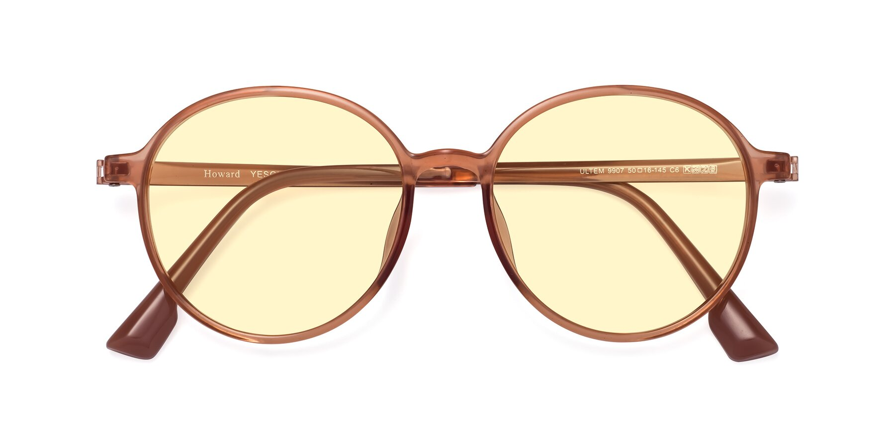 Folded Front of Howard in Coral with Light Yellow Tinted Lenses