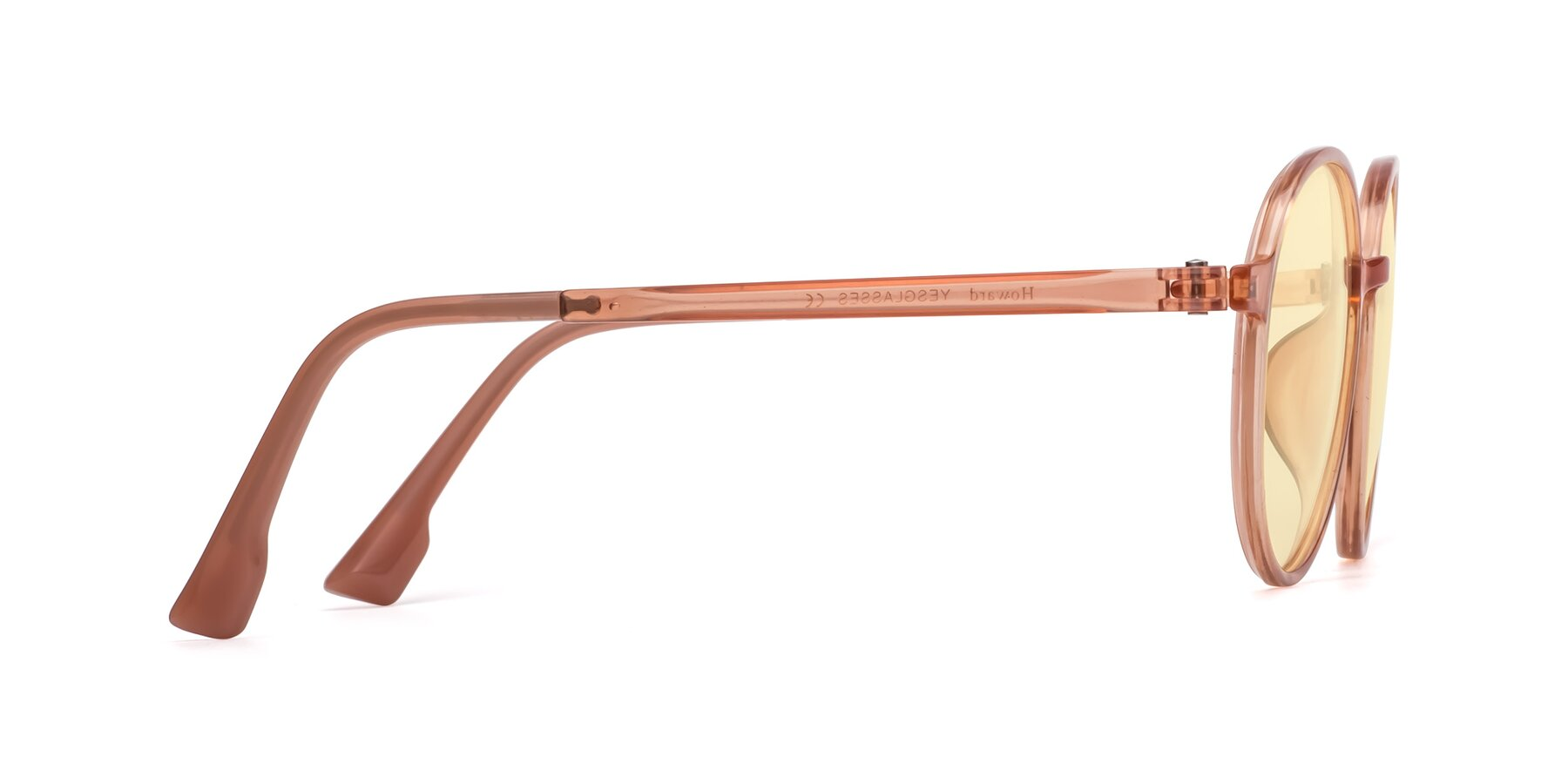 Side of Howard in Coral with Light Yellow Tinted Lenses