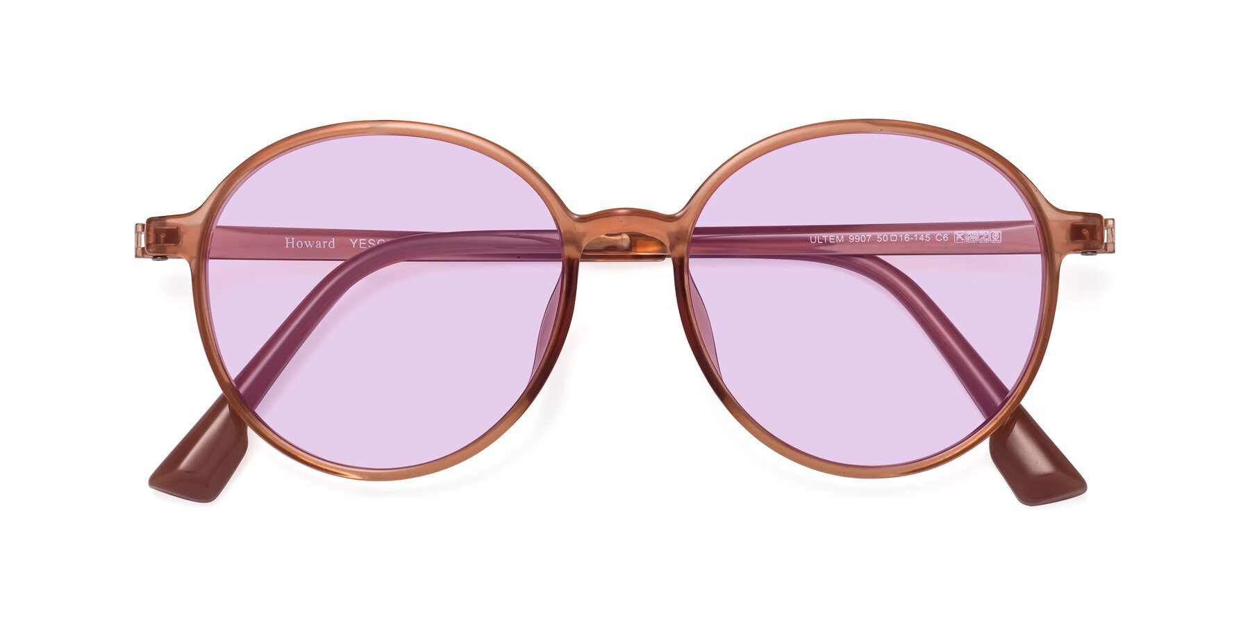 Folded Front of Howard in Coral with Light Purple Tinted Lenses