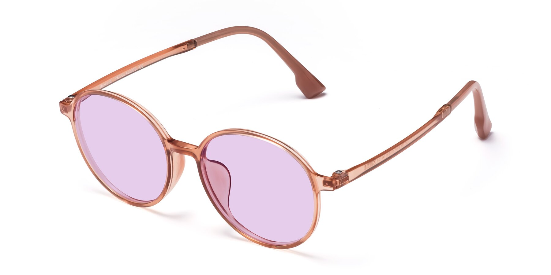 Angle of Howard in Coral with Light Purple Tinted Lenses