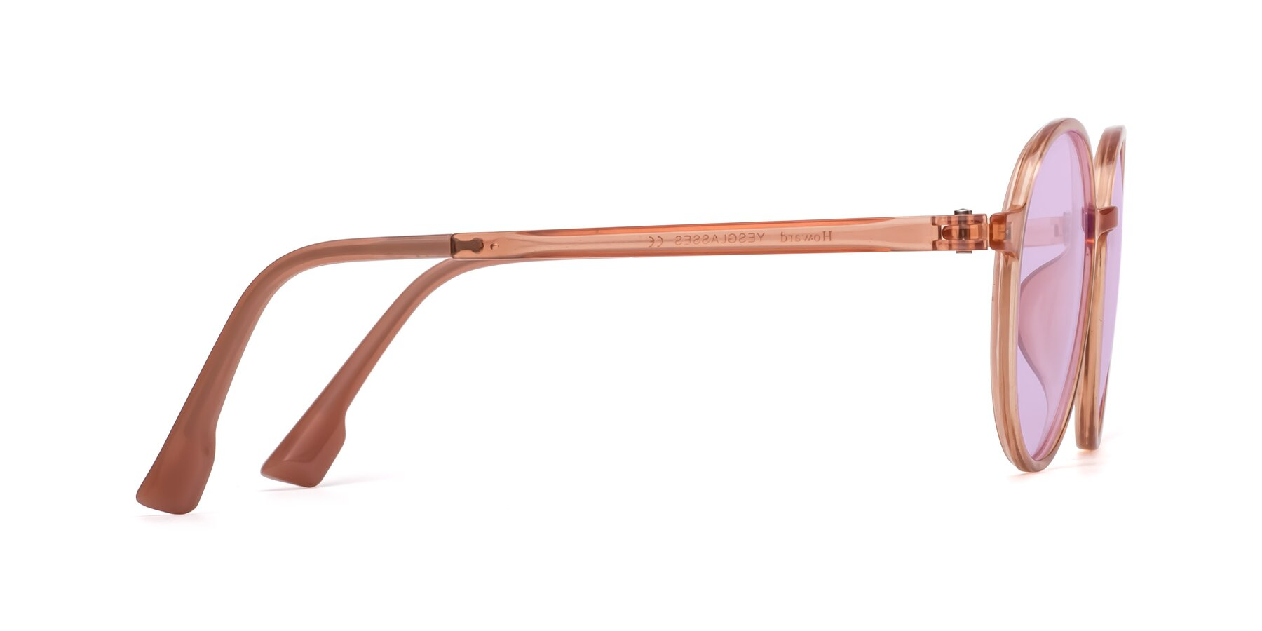 Side of Howard in Coral with Light Purple Tinted Lenses