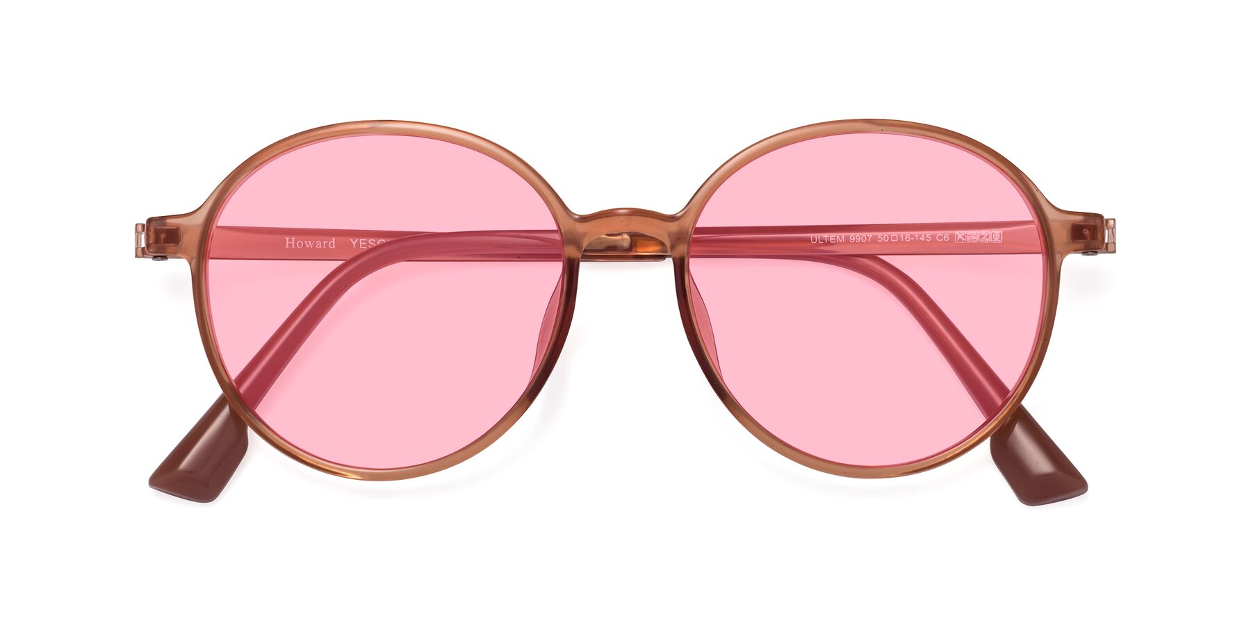 Folded Front of Howard in Coral with Medium Pink Tinted Lenses