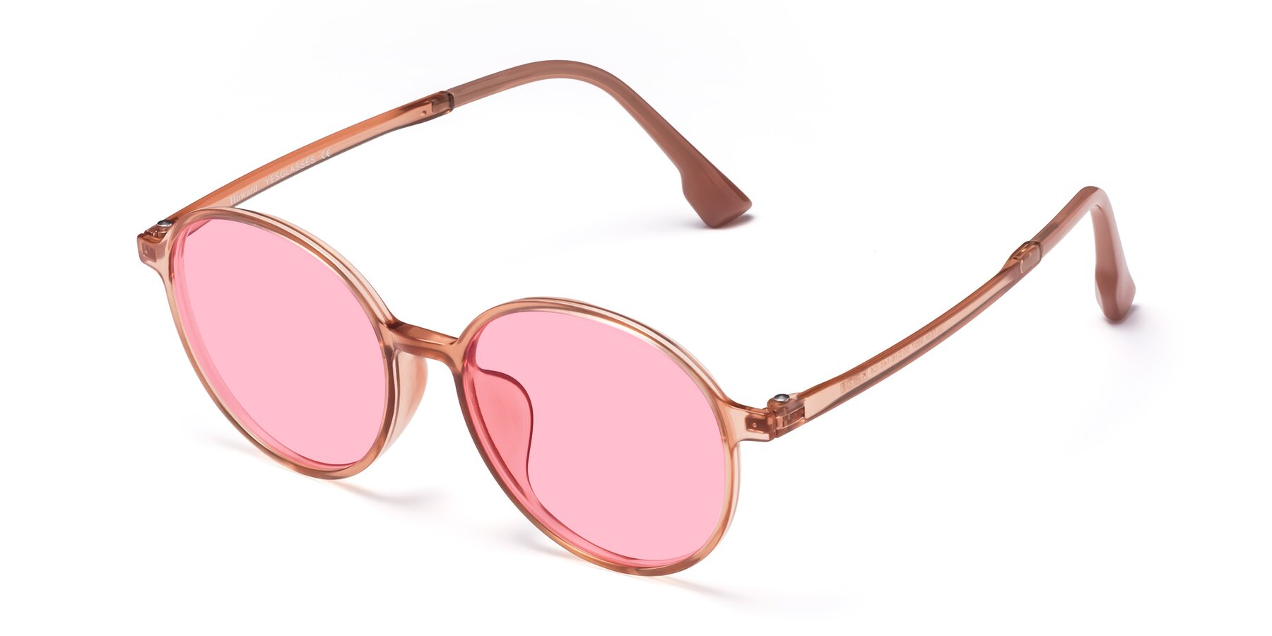 Angle of Howard in Coral with Medium Pink Tinted Lenses