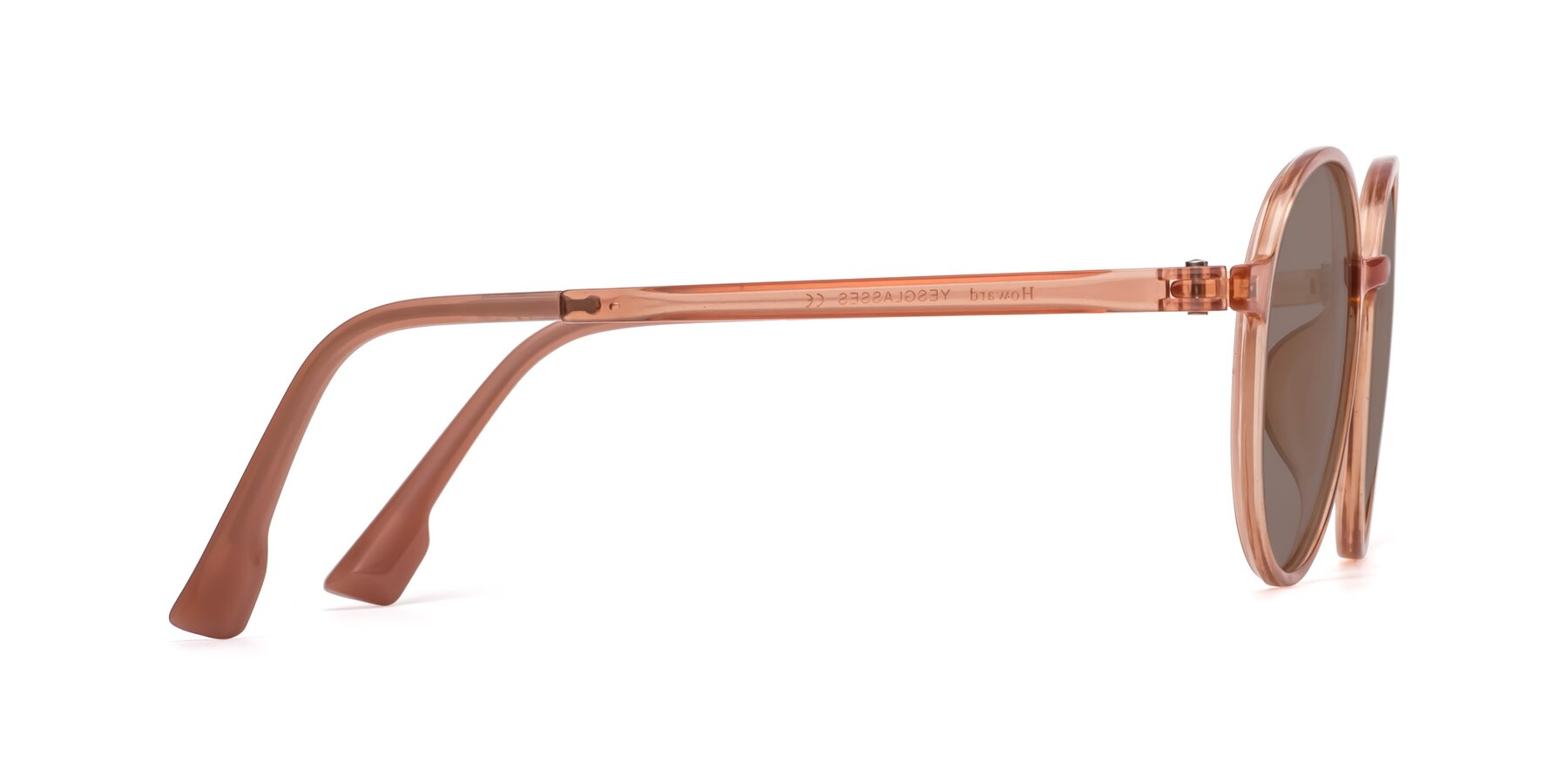 Side of Howard in Coral with Medium Brown Tinted Lenses
