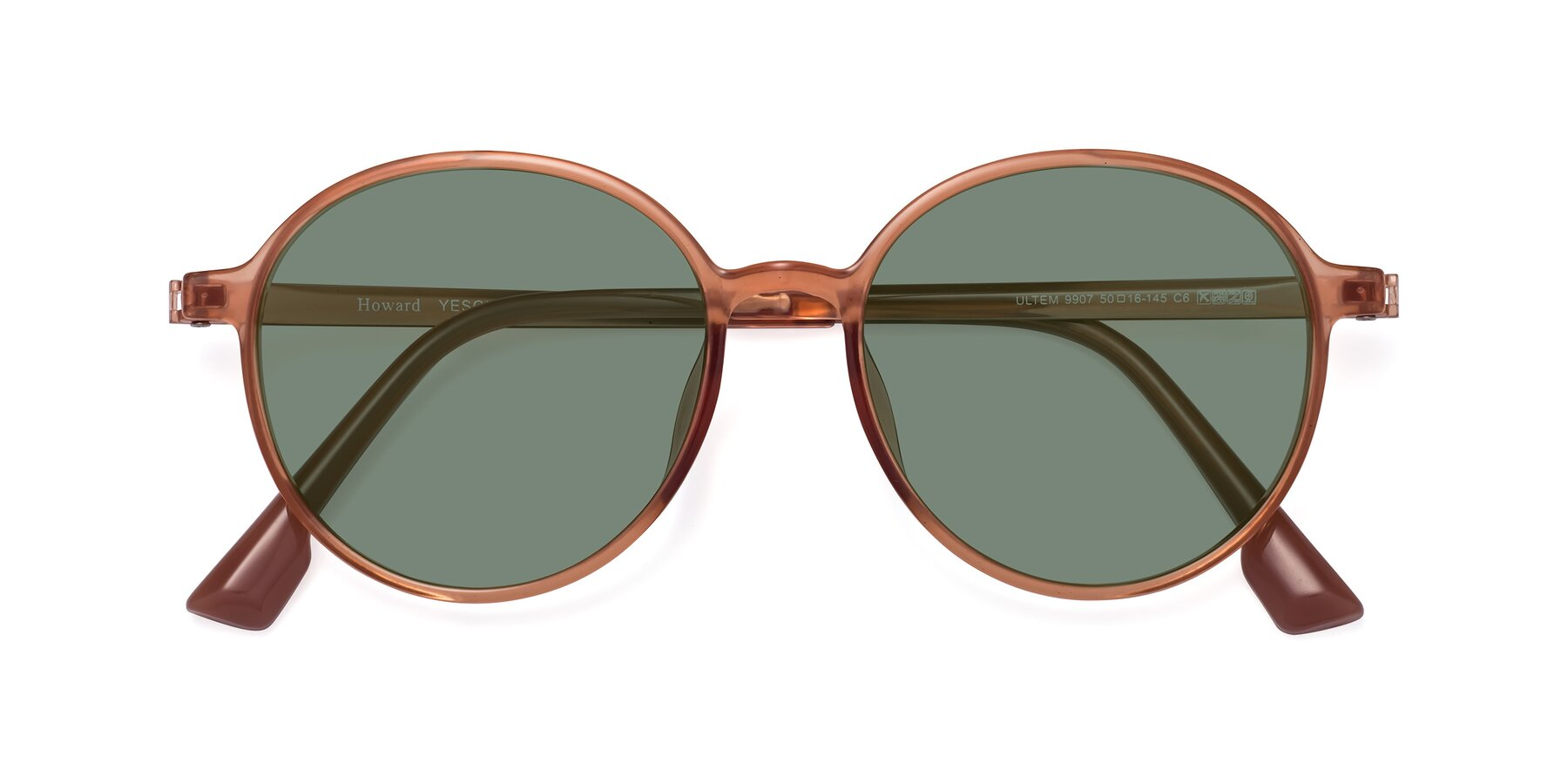Folded Front of Howard in Coral with Medium Green Tinted Lenses