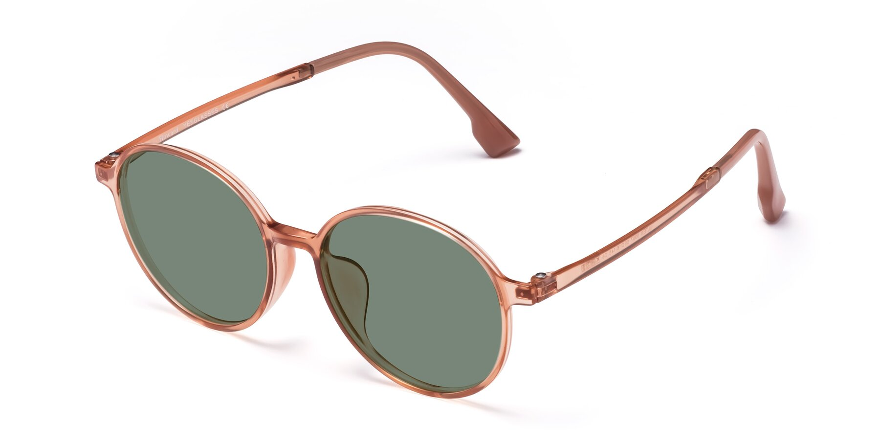 Angle of Howard in Coral with Medium Green Tinted Lenses