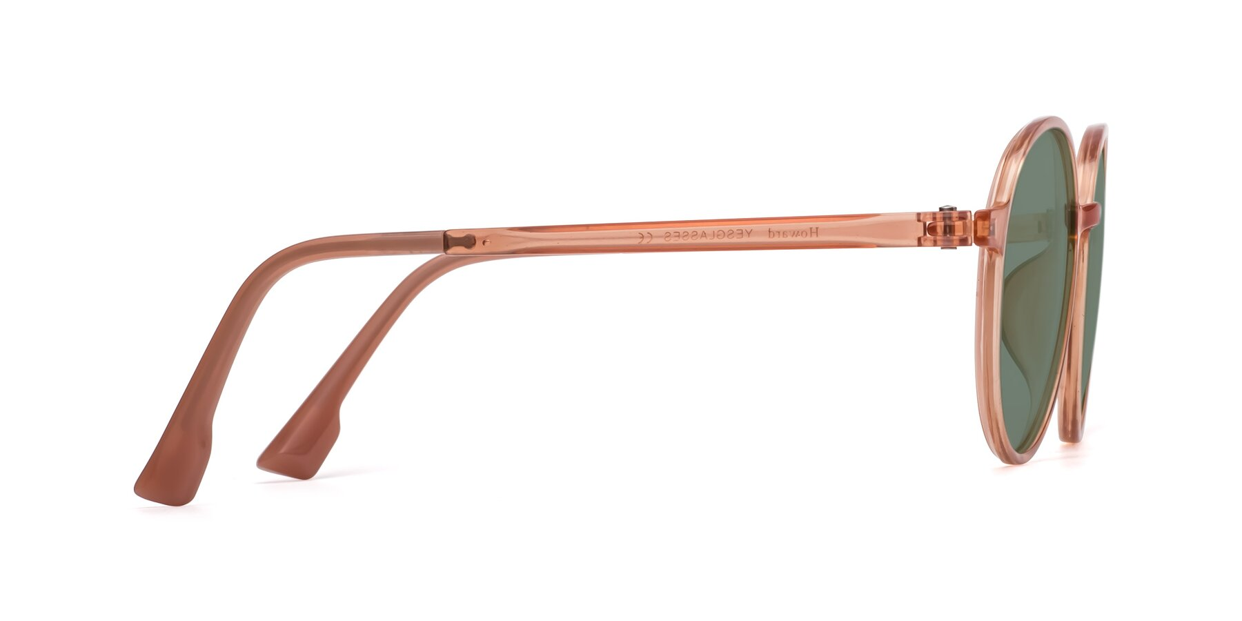 Side of Howard in Coral with Medium Green Tinted Lenses