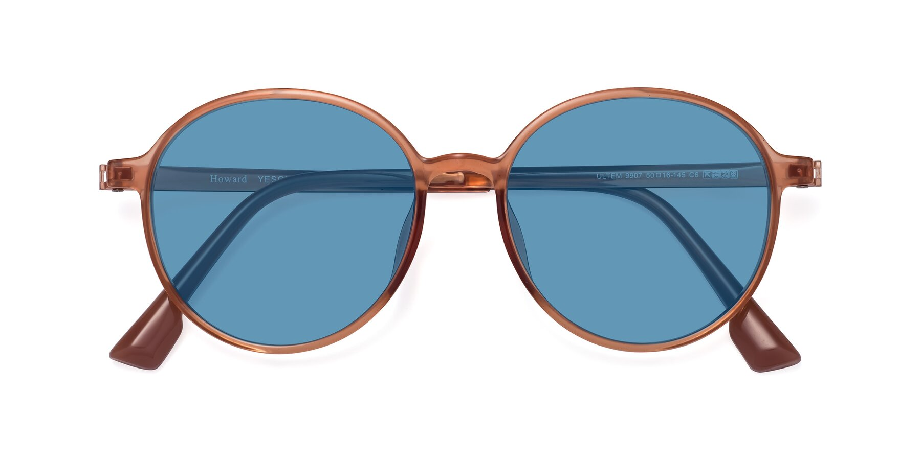 Folded Front of Howard in Coral with Medium Blue Tinted Lenses