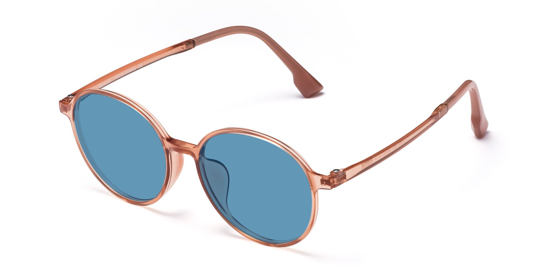 Angle of Howard in Coral with Medium Blue Tinted Lenses