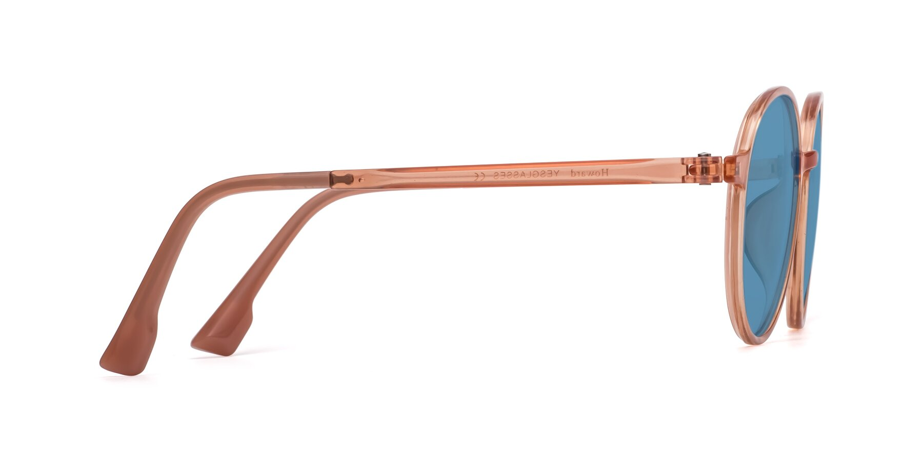 Side of Howard in Coral with Medium Blue Tinted Lenses