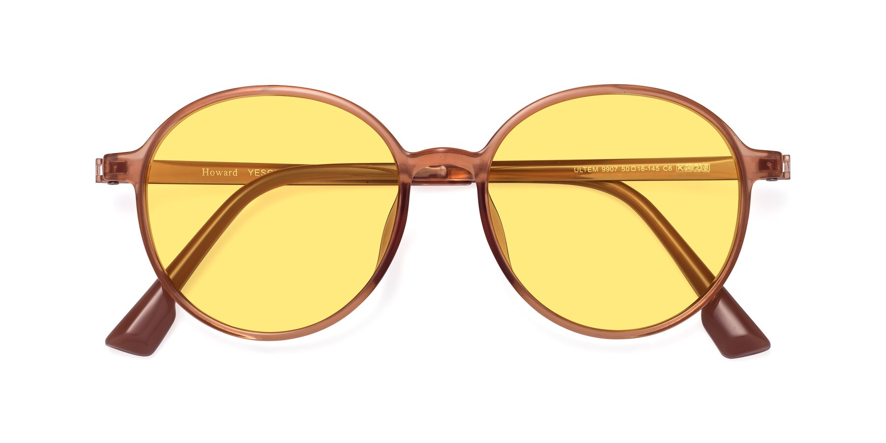 Folded Front of Howard in Coral with Medium Yellow Tinted Lenses