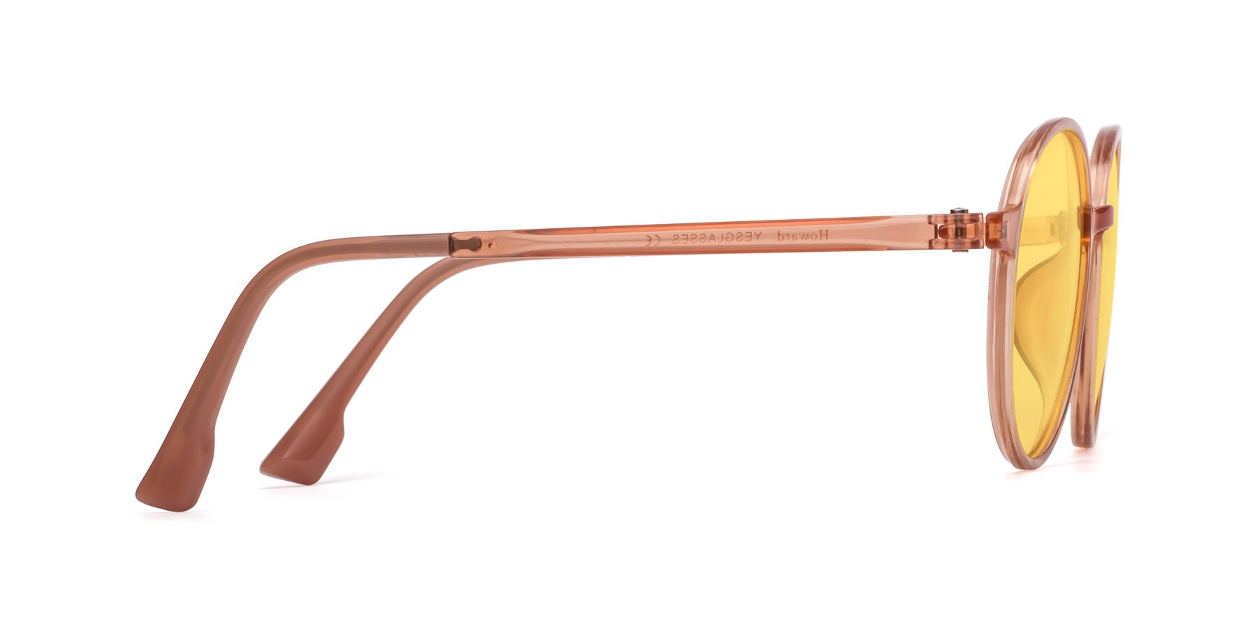 Side of Howard in Coral with Medium Yellow Tinted Lenses